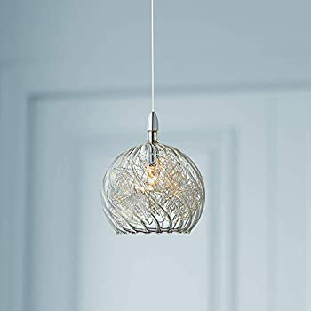 "Possini Euro 4 1/2"" Wide Swirl Wire Glass Mini Pendant Light - Possini Euro Design"