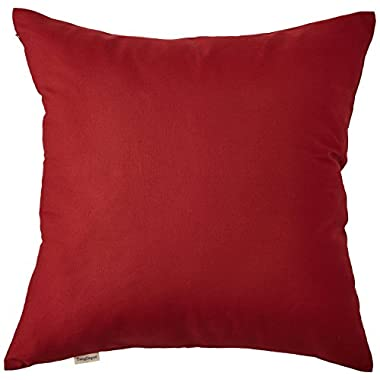 TangDepot Cotton Canvas Throw Pillow Cover -  Handmade - Many Colors Avaliable (18 x18 , Deep Red)