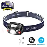 Headlamp LED, Mini Headlamp USB Rechargeable Sensor with Warning- Red Light Waterproof Headlamp for Working Camping Running Cycling Hiking and Reading