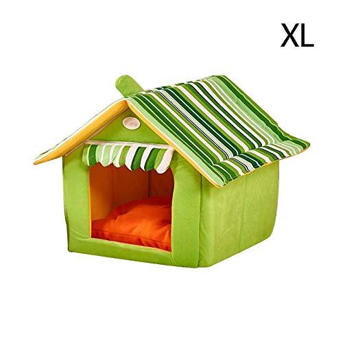 Green XLargeFoldable Dog Bed Washable Pet House Soft Cave Cute Dog Kennel Nest Plush Cat Tent