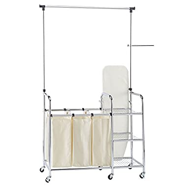 Household Essentials Laundry Station Sorter with Ironing Board, Chrome