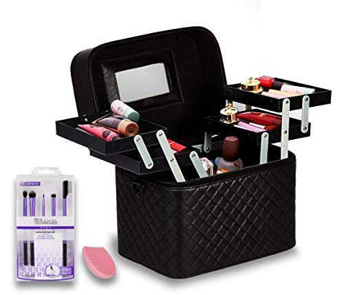 Shadesnbases Women's Professional Cosmetics Nail Beauty Makeup Kit Storage Organizer Box,Vanity Case For Train,Travel, Bridal Gift (Black)