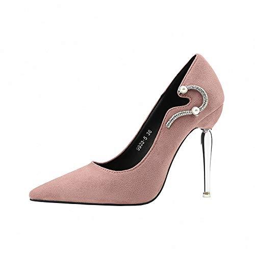 rose 37 EU FLYRCX Style européen Simple Strass Luxe Sexy a souligné la personnalité Talon Haut Talon Aiguille Chaussures Simples Chaussures de Mariage