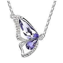 """Alvdis Fashion Jewelry Butterfly Style Sterling Swarovski Crystal Pendant Necklace, 16"""""""