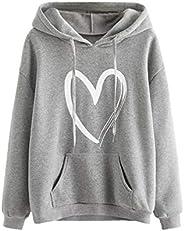 SweatyRocks Women's Casual Heart Print Long Sleeve Pullover Hoodie Sweatshirt