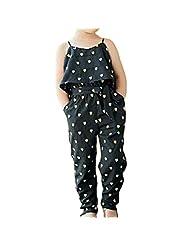 Donalworld Girls Summer Heart-shaped Sleeveless Jumpsuit Clothing Set Dress