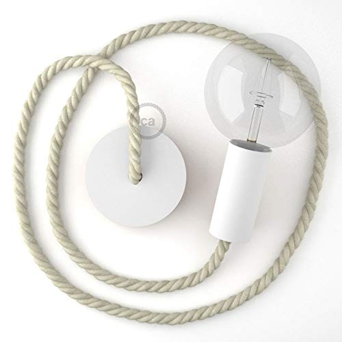 Creative-Cables Hängelampe Tauseil XL Baumwolle rau 16 mm mit Weiß Holzbaldachin und Fassung. Maße in . - 2 Meter, Montiert