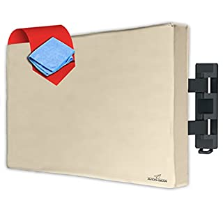 "Avion Gear Outdoor TV Cover - 50"" 52"" Weatherproof Universal Protector for LED, LCD, Plasma TV Screens. Built in Fully Covered Bottom & Remote Storage. Fits Standard Mounts and Stands - Beige"