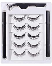 Magnetische Eyeliner Met Wimpers Set, 3D Magnetische Wimpers Met Eyeliner Kit, 5-paar Herbruikbare Natuurlijke Magnetische Wimpers, Pluizige Magnetische Wimpers, 2 Buizen Van Magnetische Eyeliner