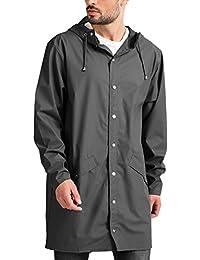 Men's Lightweight Waterproof Rain Jacket Packable Outdoor Hooded Long Raincoat