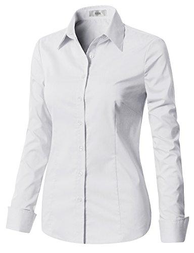 EZEN Womens a Button Down Shirt White Small