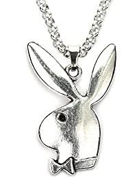 """Playboy Bunny Necklace, 20"""" Rolo Chain in Pure 304 Stainless, with Antiqued Zinc Alloy Play Boy Rabbit Charm Pendant"""