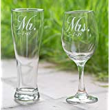 Elegant Mr. and Mrs. Glass with Wedding Date, Set of 2 - More Glass Types Available: Choose from Wine, Pilsner, Pint or Whisky Glasses