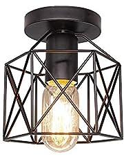 Vintage led plafondlamp zwart ijzeren kooi opbouw licht, voor keuken slaapkamer balkon bar edison lamp warm licht plafond lichtpunt