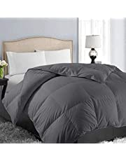 Queen/Full Soft Quilted Down Alternative Comforter All Season Hotel Collection Reversible Duvet Insert with Corner Ties, Warm Fluffy (Dark Grey 88 by 88 Inches)
