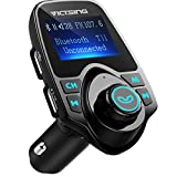 """VicTsing Bluetooth FM Transmitter, [Upgraded Version] 120°Rotation Car Radio Kit with 4 Music Play Modes/ Hands-free Calling/TF Card USB Charger/Flash Drive AUX Input/Output 1.44"""" LCD Display"""