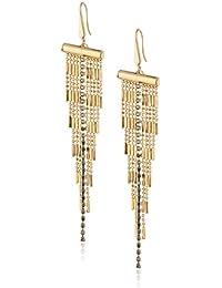 Steve Madden Gold-Tone Cubic Zirconia Dangling Fringe Fishhook Drop Earrings