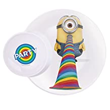"""Zak! Designs Multi-Purpose Plate with Built In Dipping Sauce Dish featuring Despicable Me 2 Minions Graphics, Break-resistant and BPA-free Melamine, 11"""""""