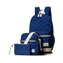 Leaper Girls Canvas Cute Dots School Backpack Cross Body Bag Pencil Bag 3PCS Navy Blue