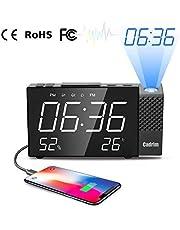Cadrim Radio Réveil à Projection, Horloges à Projection de l'Heure et Température FM avec Double Alarmes,Numérique USB, Fonction Snooze, 12/24h