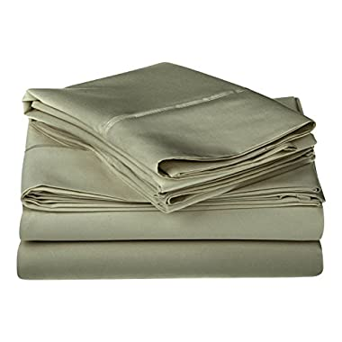 1200 Thread Count 100% Premium Long-Staple Combed Cotton, Single Ply, King Bed Sheet Set, Solid, Sage