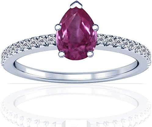 Platinum Pear Cut Pink Sapphire Ring With Sidestones