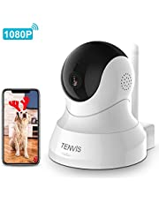 Dog Camera - TENVIS 1080P Indoor Security Camera, Dog Camera with Phone App Speaker, Pet Monitor Camera Baby Camera with Monitor, 2-Way Audio (1080p-White)