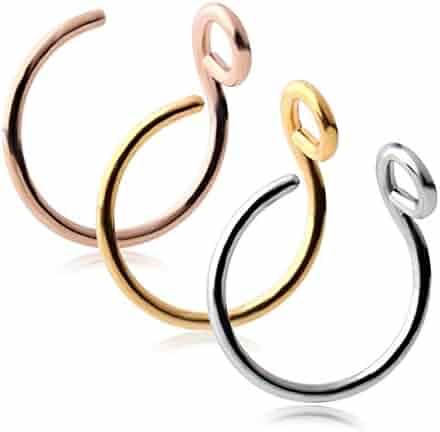 Ruifan 316L Surgical Steel Tribal Fake Faux Clip On Earrings Nose Hoop Ring Body Jewelry Piercing Unisex 20 Gauge 5/16