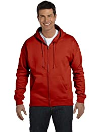Men's Full-Zip EcoSmart Fleece Hoodie (X-Large, 1 Navy + Deep Red)