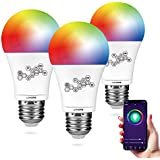 Smart WiFi Light Bulb, Lyhope RGBCW Color Changing Dimmable LED Bulbs, A26 60W Equivalent, Compatible with Amazon Alexa and Google Assistant, No Hub Required (3 Pack)