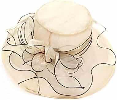 8affa597 Women's Kentucky Derby Church Organza Sun Hat Tea Party Wedding Floral  Summer Gauze Hats Wide Brim