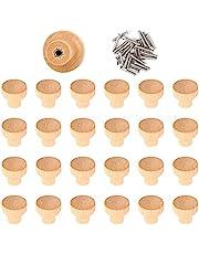 Haisheng 25 STKS Houten Knoppen Houten Ronde Lade Knoppen Houten Lade Trekt Houten Kabinet Handvatten met 25 STKS Schroeven voor Lade Deur Schoenendoos Meubels (2.8 × 2.5 cm)