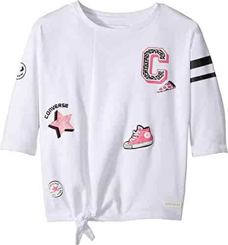a6e454fa17a Converse Kids Womens Tie Front Patches Knit Tee (Big Kids)