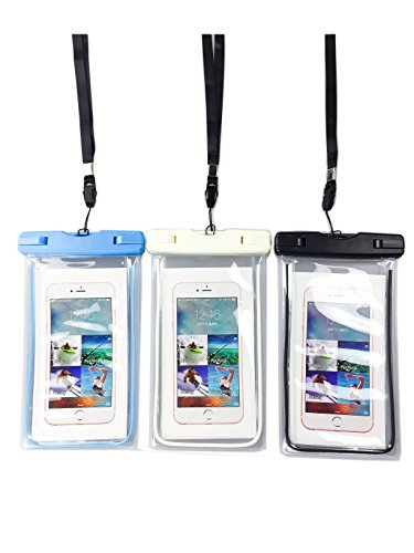 Universal IPX8 Waterproof Cell Case Pouch with Lanyard for iPhone 7 Plus 7, 8, 10, Samsung Galaxy S8 Plus S7 Google Pixel HTC LG V10 Huawei P9 Honor 8 (Clear 3-Pack)