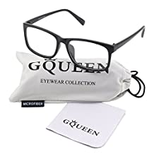Glasses Queen 201512 Casual Fashion Rectangular Frame Clear Lens Eye Glasses,Matte Black