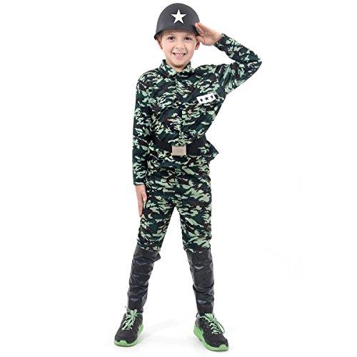Fantasia Soldado Infantil 923750-P, Verde Camuflado, Sulamericana Fantasias