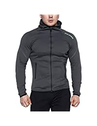 BROKIG Mens Gym Hoodie, Training Workout Muscle Hooded Sweatshirts with Zipper Pockets