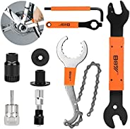 Augot Bike Tool Kit 9 in 1 Bike Repair Tool Kit with Bike Crank Extractor, 3 in 1 Cassette Remover Wrench, Bot