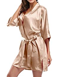 Pure Color Satin Short Silky Bathrobe Sleepwear Nightgown Pajama