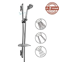 GAPPO Stainless Steel Bathroom Shower Kit - Include 3 Setting Model Handheld Showerhead, Curved Slide Bar Riser Rail and Soap Dish, Polished Chrome