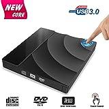 External CD DVD Drive, Tintec USB 3.0 CD DVD +/-RW Rewriter Burner with Touch Control, High Speed Data Transfer, Slim Portable for Notebook Laptop Desktop PC Windows/Vista/Linux/Mac OS