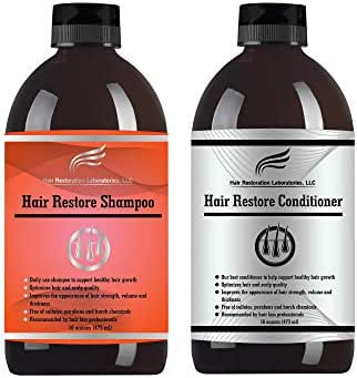 Hair Restoration Laboratories' Hair Restore Hair Loss Shampoo and Conditioner Set. Over 30 DHT Blockers. The Most Effective, Daily Use, Hair Growth Shampoo and Conditioner Set For Men and Woman
