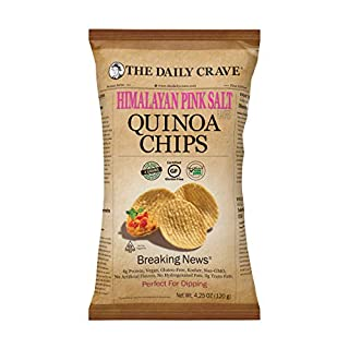 The Daily Crave Himalayan Pink Salt Quinoa Chips, Himalayan Pink Salt, 4.25 Oz (Pack Of 8) 4g Protein, 2g Fiber, Gluten-Free, Non-Gmo, Crunchy