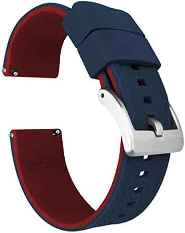 22mm Navy Blue/Crimson Red - Barton Elite Silicone Watch Bands - Quick Release - Choose Strap Color & Width