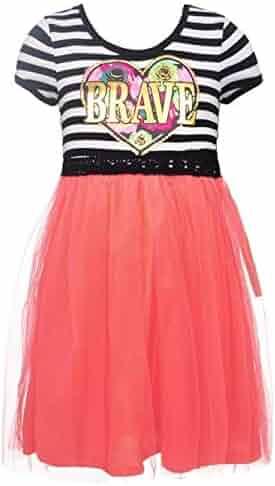 RMLA Little Girls Coral Overlaid Brave Heart Applique Stripe Print Dress  4-6X a628ec706