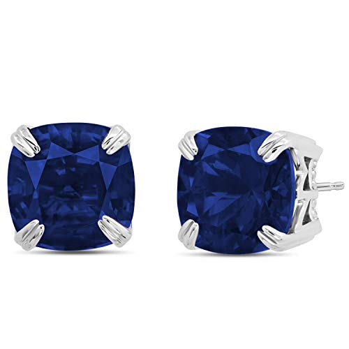 Nicole Miller Fine Jewelry - Sterling Silver with 7mm Cushion Cut Gemstone Stud Earrings