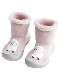 CHUNG Toddler Baby Boys Girls Winter Warm Moccasins Anti-Slip Slipper Floor Cute Animal Indoor Outdoor Shoes Socks