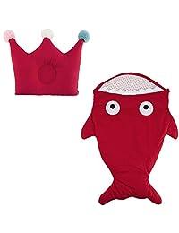 Dorapocket Baby Cartoon Shark Cotton Sleeping Bag Newborn Sacks Swaddling Blanket with Baby Crown Pillow,Red
