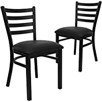 Flash Furniture 2 Pk. HERCULES Series Black Ladder Back Metal Restaurant Chair - Black Vinyl Seat