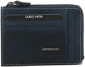 Wallet man GUIDO VIETRI blue in leather pocket with zip credit cards A5700